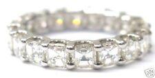 Fine Asscher Cut Diamond Eternity Ring 2.85Ct White Gold Size 4