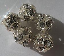 Modeschmuck 10 Legierung Perle 12mm Farbe silber Zwischenperle mit Steinen Kugel