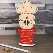 Personalised Thank You Gift For Teacher Teaching Assistant Wood Flower