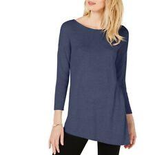 INC NEW Women's Asymmetric Mixed-knit Cashmere Blend Crewneck Sweater Top TEDO