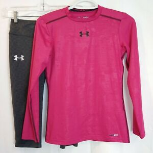 Lot Under Armor Fitted Girls Pink Heat Gear Top YLG - Gray All Season Capris YMD