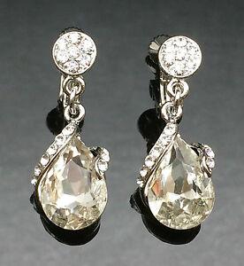 Crystal Tear Drop Earrings Clip-on or Pierced Silver Long Wedding Formal 3cm