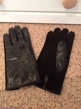 FANTASTIC HOBBS BLACK PATENT LEATHER & SUEDE LADIES GLOVES UK SIZE M BARELY WORN
