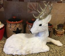 """White Gold Sitting Reindeer Christmas TableTop Decor Centerpiece 17"""" Rustic Wood"""