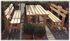 Holz massiv Möbel Sitzgruppe Garten Bierzelt Garnitur Tisch 2 Bänke Lehne NEU