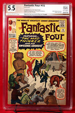 FANTASTIC FOUR #15 PGX 5.5 FN- Fine- signed by STAN LEE and JACK KIRBY HTF +CGC!