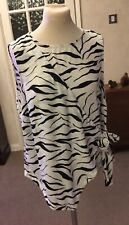 Ladies Size 16 Top Blouse New Look Black and White Wrap around