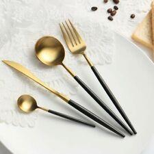 Cutlery Set / Flatware set New tableware- 4 Set Black Handle Gold Dinner Scoop