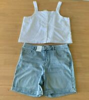 Girls size 16 White lined button up tank top & blue denim shorts Target NEW
