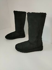 Womens UGG AUSTRALIA Black Suede Fur Lined Ankle Boots UK Size 1 EUR 32