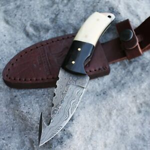 """7"""" Bone Handle Hunting Knife with Gut Hook and Damascus Blade"""