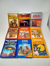 Atari 2600 Game lot of 9 - Cartridges Boxes Manuals PacMan, Warlords, Lost Ark
