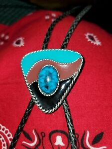 Triangular Western Bolo Tie with Faux Turquoise Stone Silver Tone