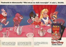 X1449 Alice nel paese delle meraviglie - Vhs Disney - Pubblicità del 1990 - Ad