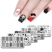 UR SUGAR Rectangle Nail Art Stamping Plates Valentine's Day Image Templates