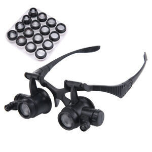 Multi-Power 2.5X-25X Double LED Lights Magnifier Eye Glasses Watch Repair Loupe