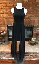 Vintage VTG Black Sleeveless Short Mini Dress with LONG Sheer Overlay size Small