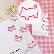 10pcs/lot Cute Pig Pink Bookmark Paper Clip Hollow Out Metal Binder Clips