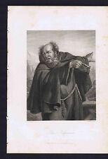 Capuchin-Franciscan Friar - Schiller's Play Wallenstein  -1883 Steel Engraving