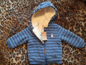 Super cute John Lewis Fleece Lined Stripe Penguin Hooded Jacket 3 - 6 Months NWT