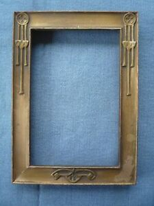 Antique MISSION  ARTS & CRAFTS picture Frame gold gilded   7x5 Stickley Era