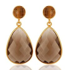 Faceted Smoky Quartz Gemstone Sterling Silver Dangle Earrings - Gold Plated