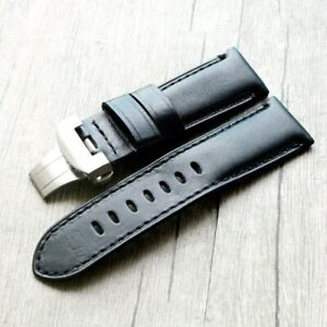24mm Black Calf Waxy Leather Band Silver Folding Clasp Strap for PAM PAM111