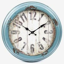 Antique Blue Distressed Metal Wall Clock Shabby Chic Home Decor