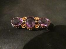 Exquisite Victorian 15ct Gold & Amethyst Trilogy Brooch, Boxed