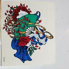 NEW Vintage Grateful Dead Flamenco Dancing? Skeleton  w/ Roses/Fan Window Decal