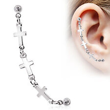 Triple CROSS Chained Dangle TRAGUS CARTILAGE Helix EarRing Stud Piercing Jewelry