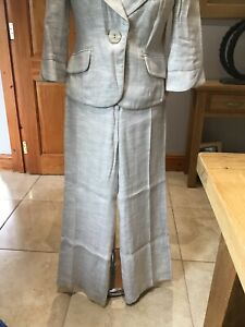Principles Natural Linen Mix Trouser Suit Size 10
