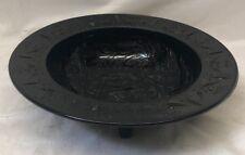 "Vintage 11"" Black Glass Etched Footed Bowl"