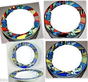 MYLASA Bopla Porzellan 22cm tiefer Teller mit Rand Suppenteller Beilagenschale