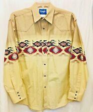 Vintage Wrangler Southwestern Indian Aztec Men's Shirt Large Pearl Snap Buttons