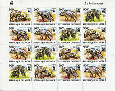 Niger 2015 MNH Striped Hyena WWF 16v M/S Hyenas Wild Animals Fauna