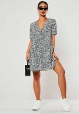 Missguided Petite White Dalmatian Print Button Down Short Sleeve Smock Dress BNW