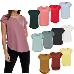 Only Damen Top Bluse Shirt Kurzarm onlVic S/S Solid T-Shirt Hemd Rundhals