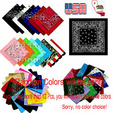 Lot of 12pc Up to 240pc Cotton Bandanas Face Mask Head Wrap Wholesale in USA
