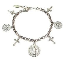 San Benito/St Benedict Medals Cross Sterling Silver 925 Charms Bracelet-ITALY