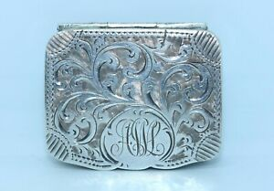 COLLECTIBLE STERLING SILVER EDWARDIAN ANTIQUE PILL or SNUFF BOX -ADIE & LOVEKIN