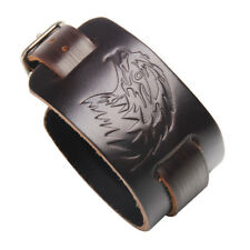Men Leather Bracelet Wide Hawk Head Bangle Adjustable Wristband Male Bracelet