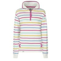 Lazy Jacks Ladies 1/4 Zip Stripe Sweatshirt - Periwinkle Multi - LJ35