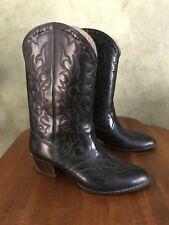 Andrew Geller Vintage USA Made BLACK Rubber Western Cowboy Boots size 10