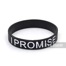1X I PROMISE Printed Silicone Wristband Black White Blue Red Bracelet Fashion