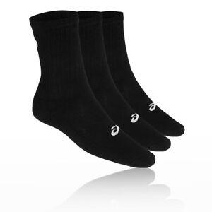 Asics Mens Crew Running Socks Black Sports Breathable Lightweight