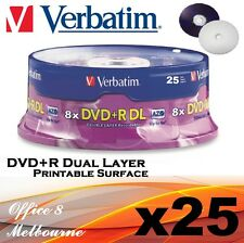 25 x Verbatim DVD+R DL 8x White Full Hub Printable Surface DVD +R Dual Layer