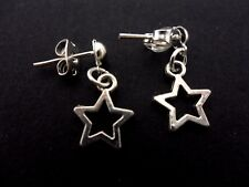 A PAIR OF CUTE LITTLE TIBETAN SILVER STAR THEMED POST EARRINGS. NEW.