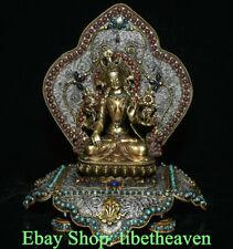 "10.4"" Old Tibet Silver Filigree Gems Temple Green Tara backlight Goddess Statue"