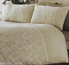 LACE EFFECT NATURAL DUVET COVER PRINTED FLORAL 300 THREAD COUNT SATEEN BEIGE